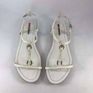Prada Sport Patent leather T-strap white sandals